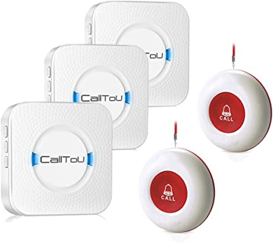 Amazon Com Calltou Wireless Caregiver Pager Smart Call System 2 Sos Call Buttons Transmitters 3 Receivers Nurse Calling Alert Patient Help System For Home Personal Attention Pager 500 Feet Plugin Receiver Alert Electronics