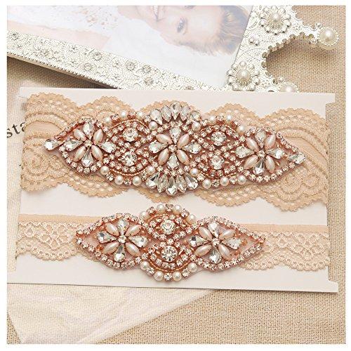 Yanstar Wedding Bridal Garter Belt Champange Stretch Lace Bridal Garter Sets With Rose Gold Rhinestones For (Guess Wide Belt)