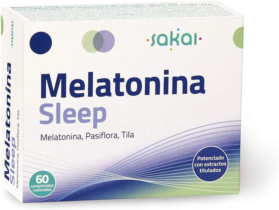 Sakai - Melatonina Sleep, 60 comprimidos masticables. Conciliación rápida del Sueño con efecto Duradero. Melatonina, Pasiflora y Tila. 1,9mg de Melatonina por comprimido.: Amazon.es: Salud y cuidado personal
