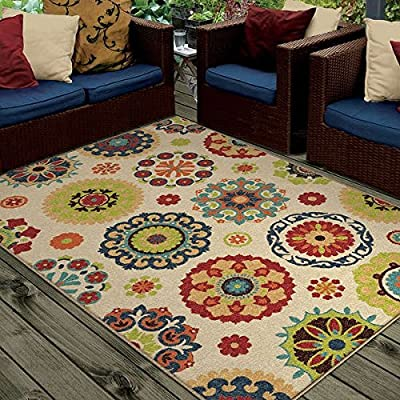 Promise Monteray Salsalito Floral Beige Machine-Made Polypropylene Area Rug (5'2 x 7'6)