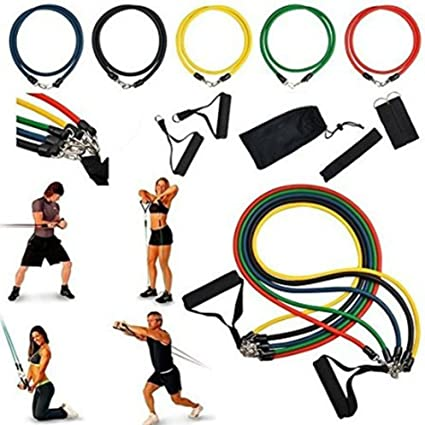 Resistance Band Set Yoga Pilates Abs Exercise Fitness Tube Training Bands