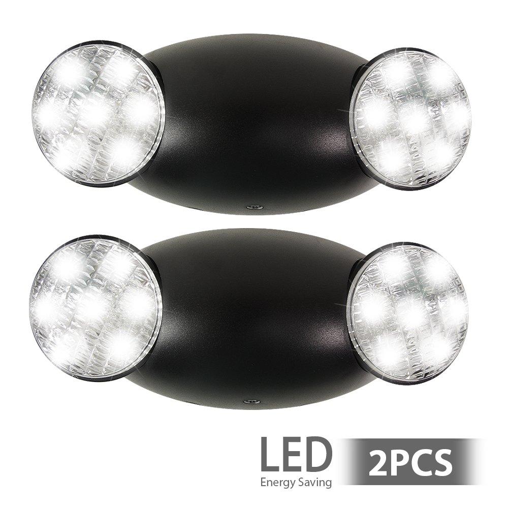 eTopLighting [2 Pack] Emergency Exit Light Standard LED Bug Eye Head LED Spot Light, Black Body Color, 2 Side Lights, Test Button, AGG2215