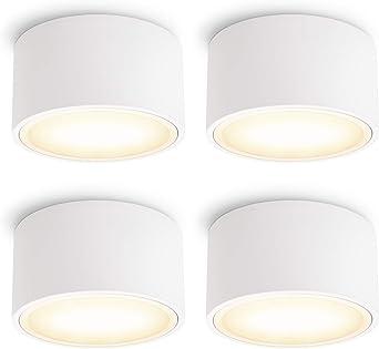 Deckenspot wei/ß rund 230V SSC-LUXon CELI-WX flacher LED Strahler Aufputz IP44 f/ür Bad /& Au/ßen mit LED GX53 neutralwei/ß 5,5W