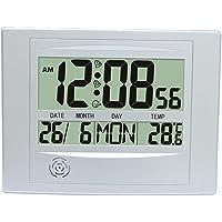 HOMYL Creative LCD Screen Digital Alarm Clock Table Wall Clock Indoor Temperature Meter Calender Clock - Silver, as…