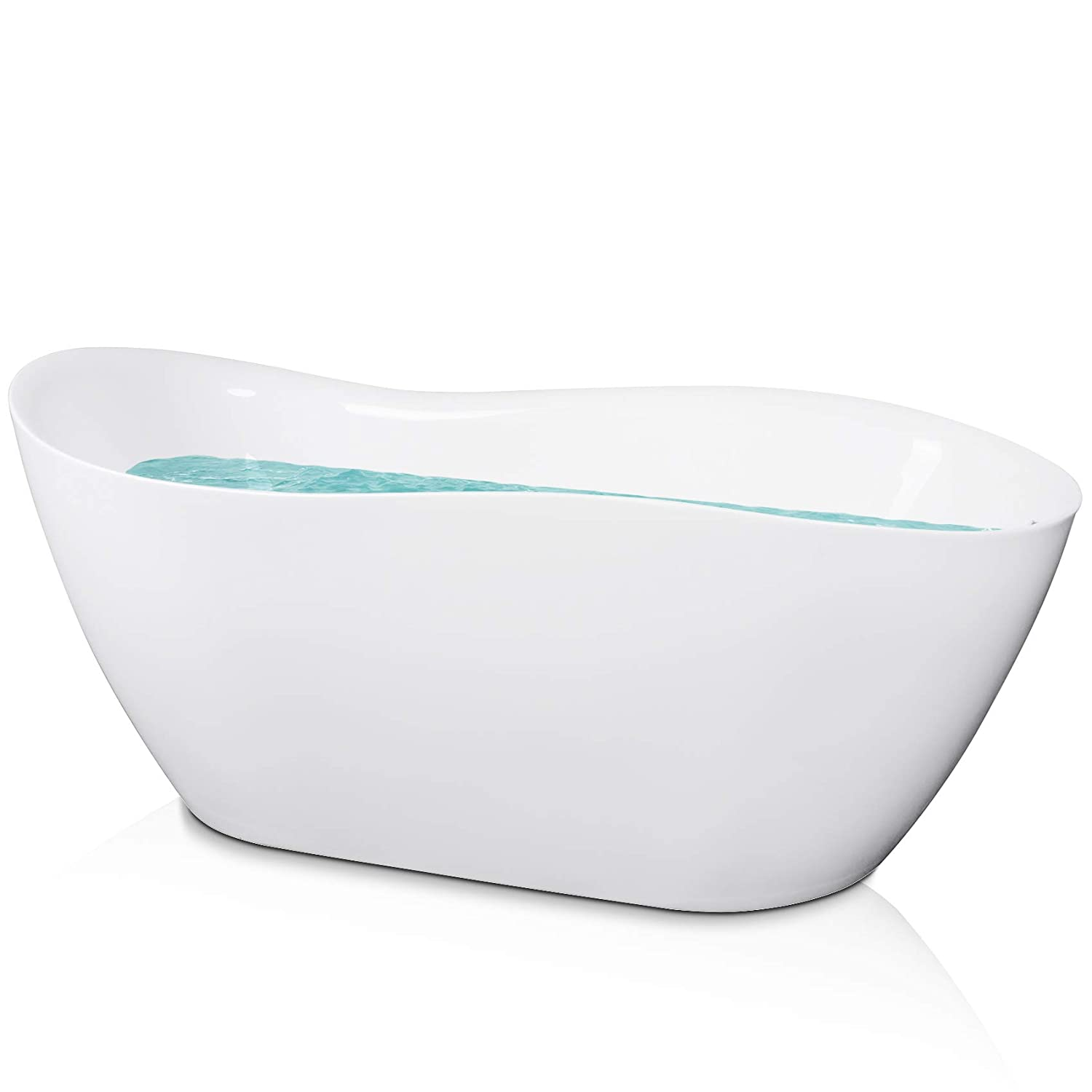AKDY Oval Freestanding White Acrylic Finish Soaking Bathtub w Overflow 67