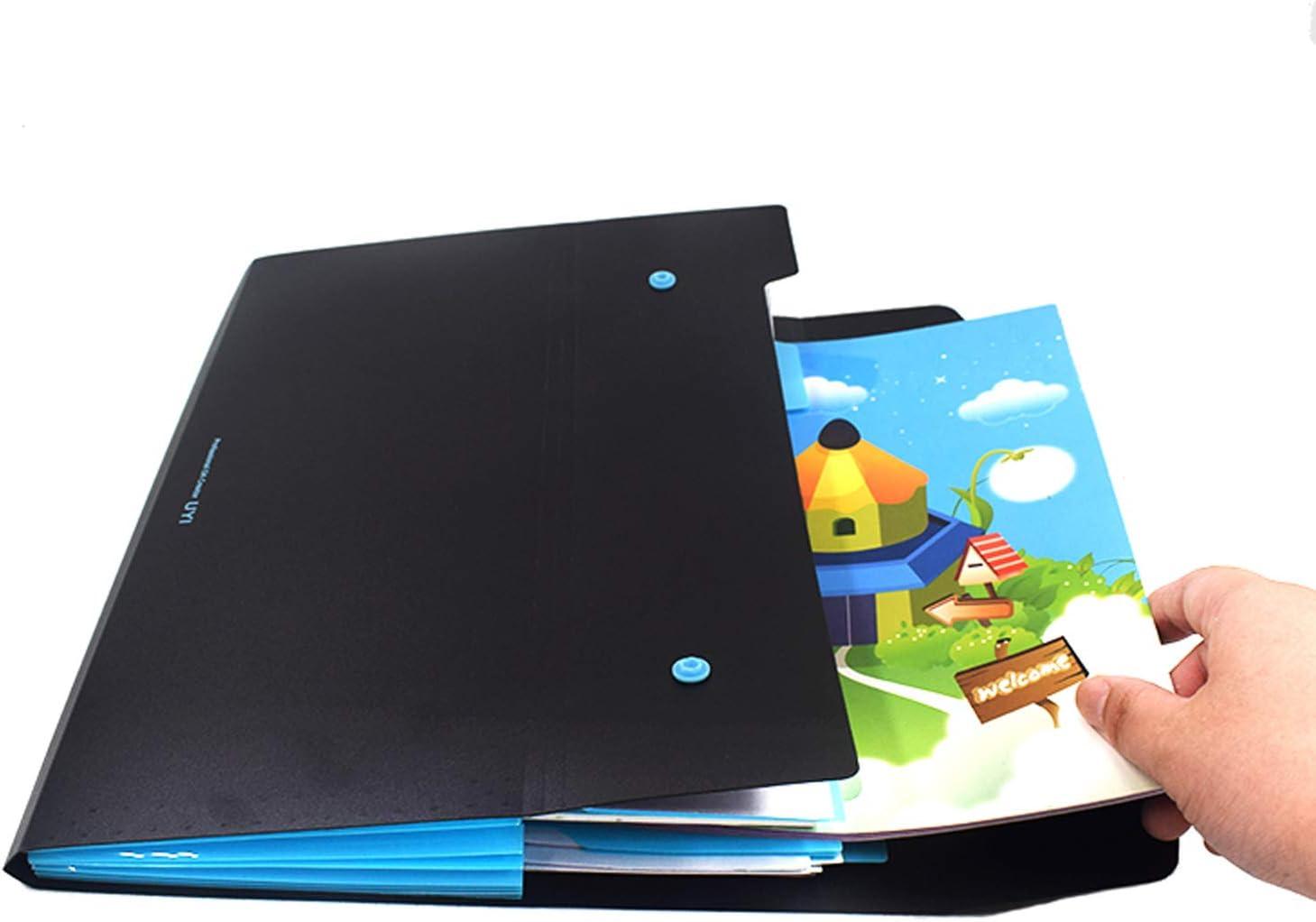 A4 Document Bag Double Twist Expanding File Plastic Bag Folder Organizer Holder Carrying Case Test Paper Clip Storage Pouch for Students Office Home Business Gift Paperwork BlackOrange, 1PCS