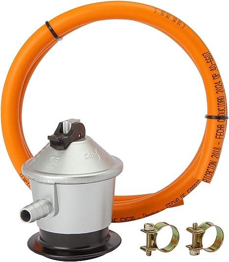 MIRTUX Kit de Conexión para Gas Butano o Propano: Regulador 30 mbar grs, Tubo Goma Naranja de 1,5 Metros y 2 Arandelas para Sujetar. Fácil ...