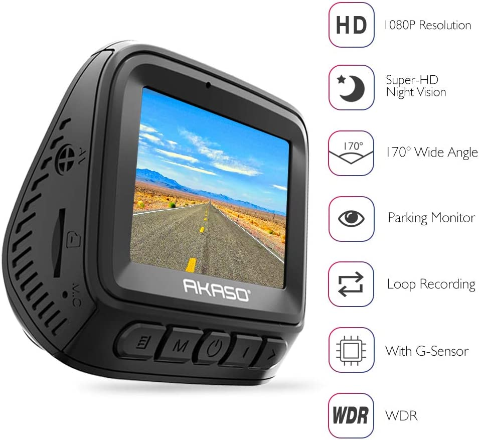AKASO 1296P Dash Cam – HD Car Dash Camera 170 Wide Angle Dash Camera for Cars with Super Night Vision Car Dash Cam Built-in G-Sensor Parking Monitor Loop Record Car Camera V300