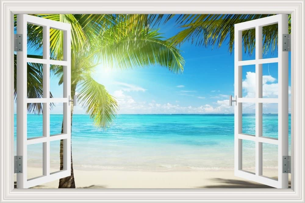 Beautiful White Beach Coconut Tree 3d Window View Wall Sticker Blue Ocean Theme Tropical Island Wall Decor Decals For Bedroom Mural Wallpaper 32 X48 Arts Crafts Sewing