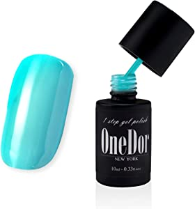 OneDor® One Step Gel Polish UV Led Cured Required Soak Off Nail Polish No Base or Top Coat Nail Need (32-Celeste)