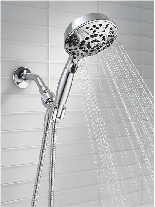 New DELTA 7-Spray Handheld CHROME Showerhead Hand Shower 6/' Flexible Hose 75701