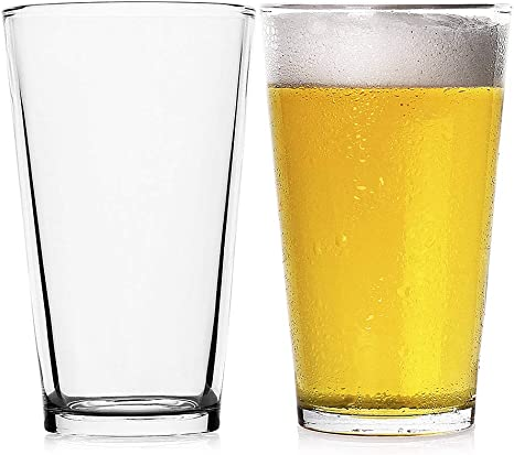 Amazon Com Luxu Classic Beer Pint Glasses 16 Oz Premium Pub Beer Glasses With Thick Base Versatile Cocktail Shaker Beer Glass Clear Glass Bar Tumblers Cocktail Mixing Glass For Cold Beverages Soda Water 2pcs
