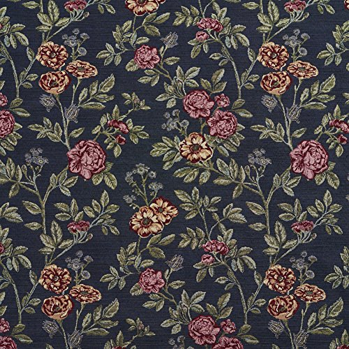 Navy Bouquet Burgundy Red Rust Coral Orange Persimmon Dark Blue Dark Green Pink Rose Floral Foliage Tapestry Upholstery Fabric by the yard (Dark Blue Cotton Upholstery)