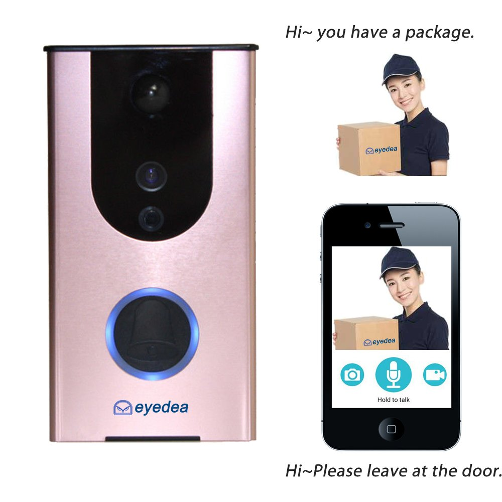 eyedea PIR WiFi Wireless Video Audio Doorbell Smart Home Security Camera Motion Sensor Tamper Alarm iOS & Android APP, IR Night Vision, Cloud Storage,Real-Time Video & Speaker System
