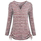 Easytoy Womens Notch V Neck Short Sleeve Loose Fit Drawstring Side Striped Shirts (Red, L)