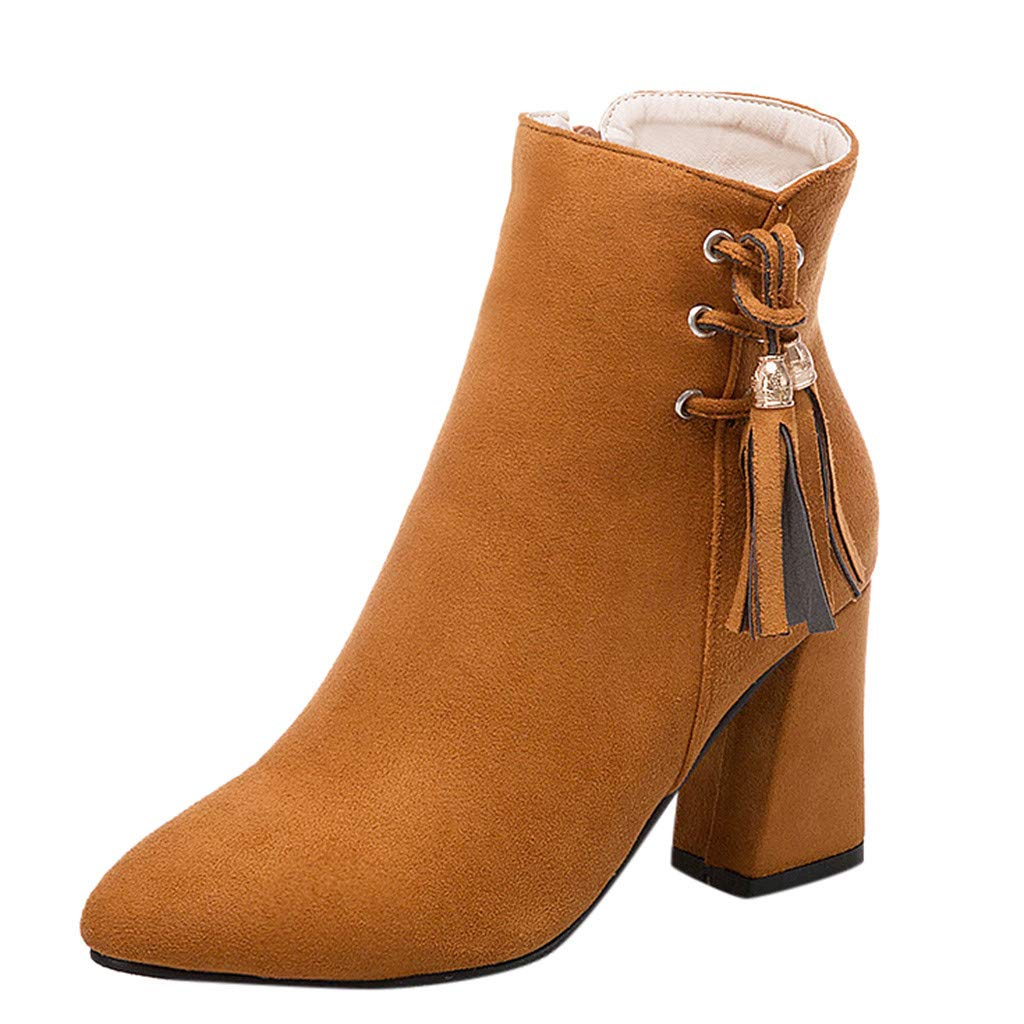 Women's Truffle Ankle Bootie Boot with Side Zip Women's Hit Hooded Bootie Ankle Boot Brown by Dunacifa Women Shoes