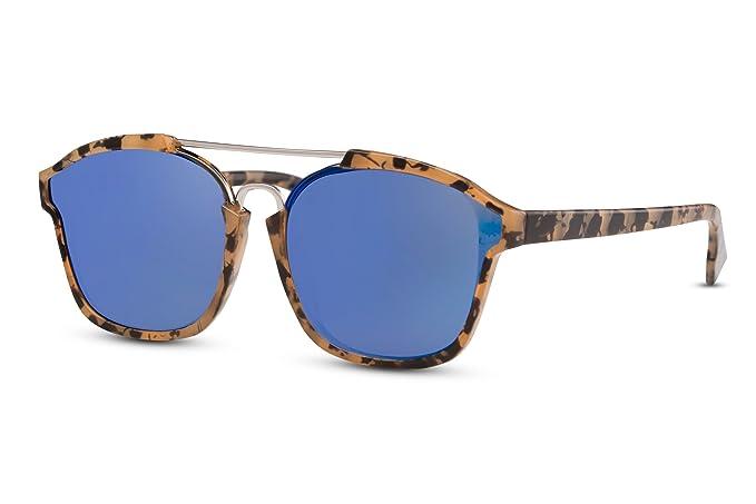 Cheapass Sonnenbrille Braun Runde Gläser Verspiegelt Leo-Print Metall UV400 Unisex sOWw5a