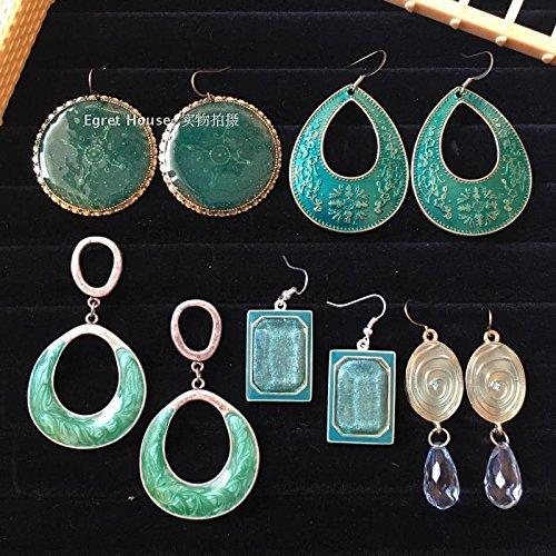 TKHNE Retro green turquoise earrings spiral pattern window empty enamel circular square diamond earrings earrings do old