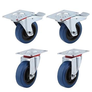 Homgrace Juego de 4 ruedas giratorias para muebles diámetro de rueda 100MM, ruedas para transporte
