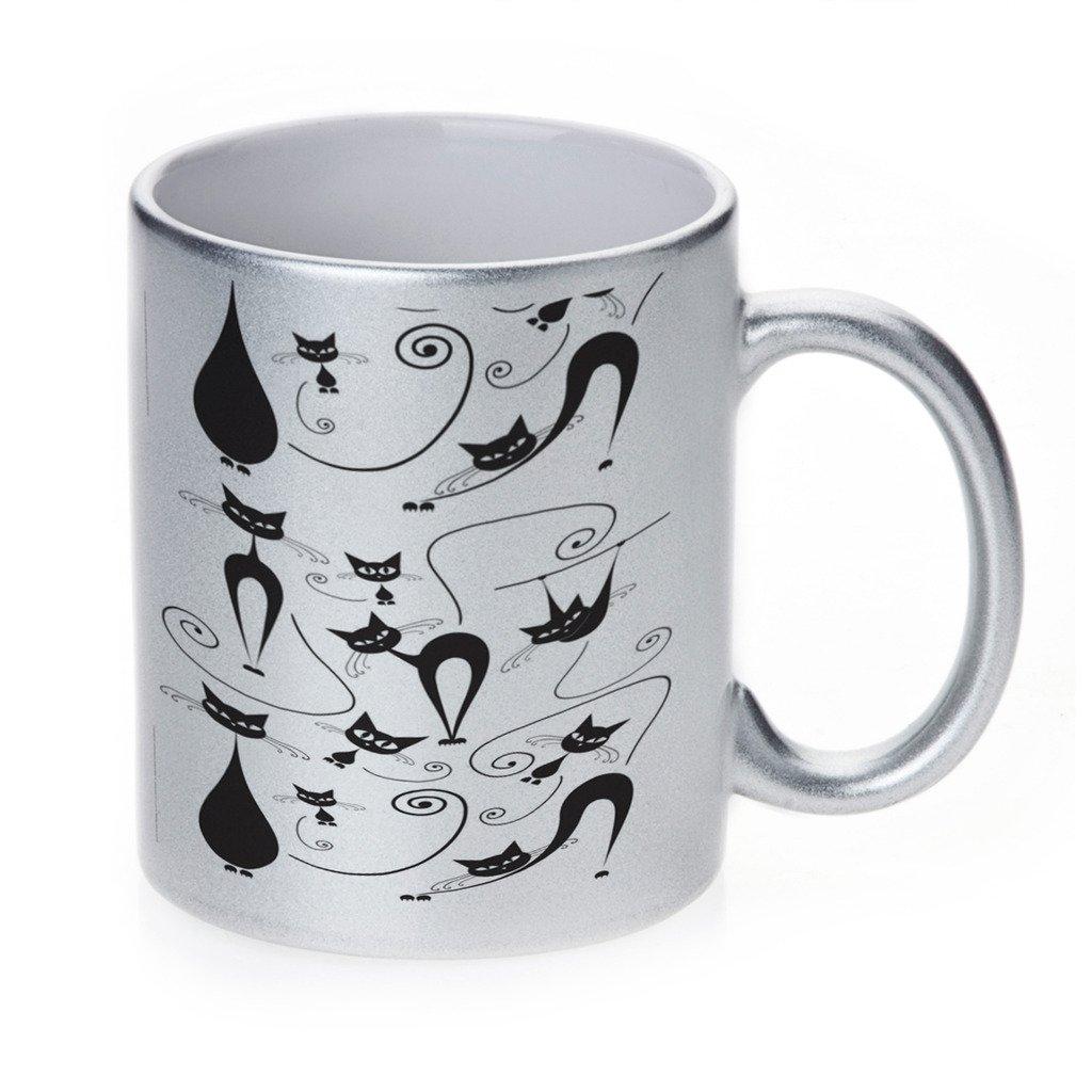 Kitty Cat PlayfulアートシルバーSparkleコーヒーカップマグ B018075V62