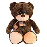 Large Ultra Soft and Cozy Fuzzy, Plush Teddy Bear, 17 Inches Brown with Scarf