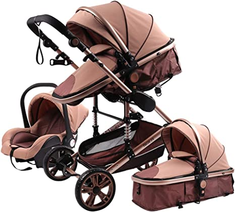 Amazon Com Jiax Travel System Luxury Baby Stroller 3 In 1 Bassinet To Toddler Stroller Luxury Pram Fold Baby Carriage Fan Footmuff Cooling Pad Cup Holder Mosquito Net Color Khaki Home Kitchen
