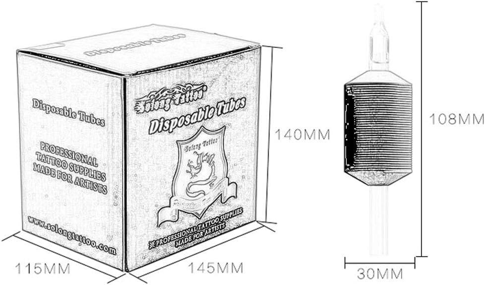 QQYTS Tattoo Needle Disposable Fine Grain Transparent Rod Black Plastic Handle Needle Diameter 30mm 15 Color : 5FT Box Artist Tattoo Artist