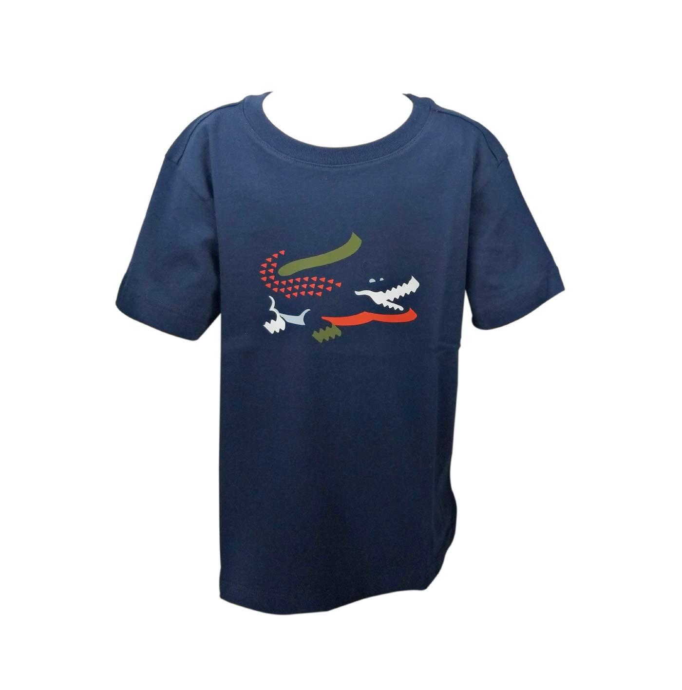 Lacoste Big BOY Multico Graphic Croc T-Shirt, Navy Blue 8YR