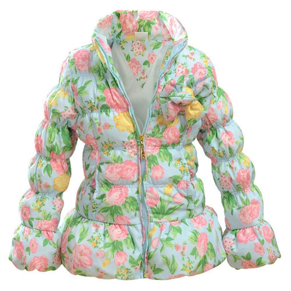 bleu 110cm RSTJ-Sjc Veste en Duvet imprimée Longue Section Fleur Fille en Duvet pour Enfant 110-150cm