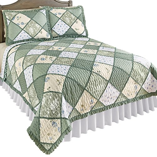 - Collections Etc Maya Reversible Patchwork Quilt with Ruffled Edge and Light Floral Pattern, Quilted Stitching, Country Charm, Gray, Light Green, Light Blue, Green, Full/Queen