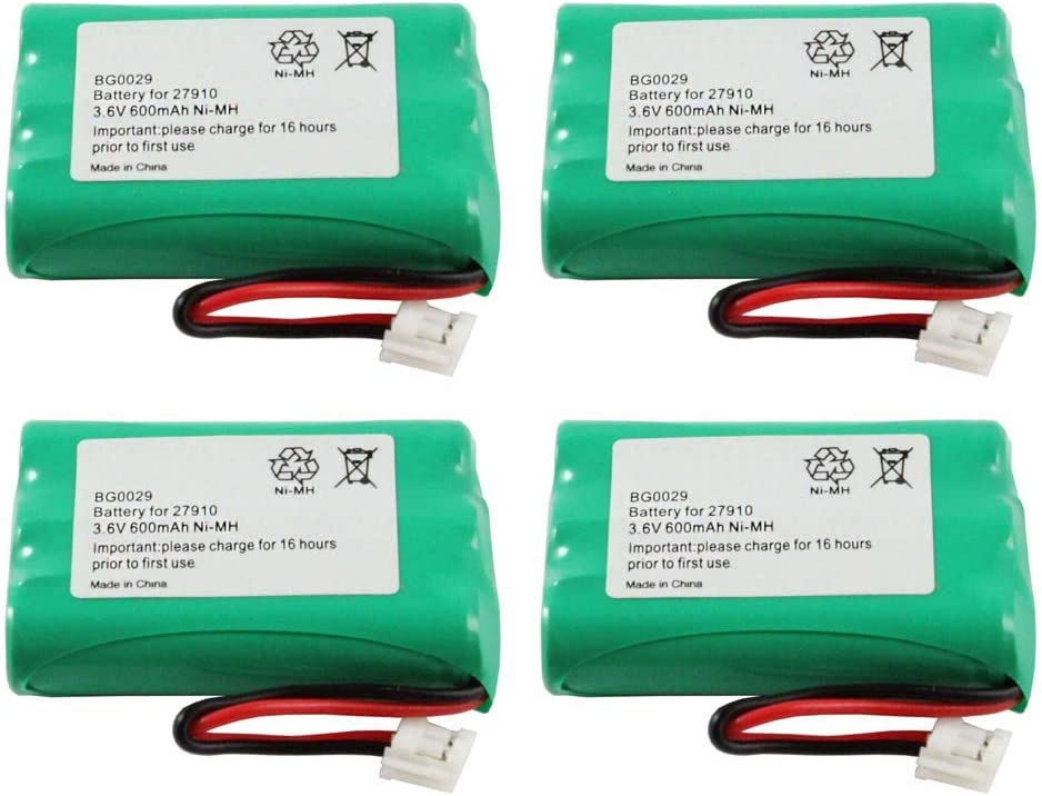WalR Rechargeable Cordless Phone Battery Ni-MH, 4 Pack, for GE 27930GE6 27930GE7 27931 27931GE4 27931GE5 27931GE6 27931GE7 27935 27935GE3 27935GE3B 27936 27936GE3 27938GE1 27939GE3 27980