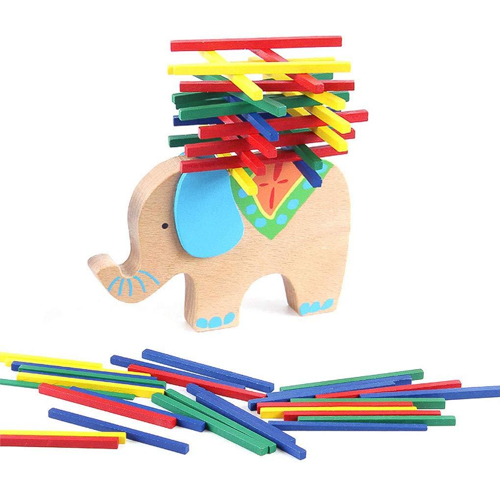 ZDYWY 木製バランシングスタッキングゲーム バランスビームスティック バー玩具 40ピース 赤ちゃん 子供用 象   B07QLQ24LD