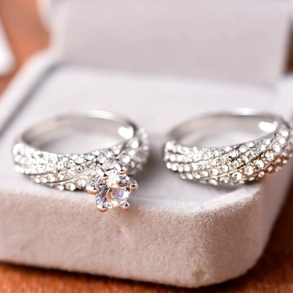 Loweryeah Zircon Ring Princess Diamon Engagement Wedding Party Ring for Women Girls