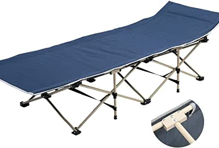 Recliner Chair Heavy Duty Outdoor Adults Folding Camping Bed Portable, Sun Lounger with Carry Bag for Camping Home Office, Support 200kg (Color : Blue)