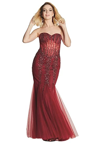 Tiffanys Illusion Prom Wine Eliza Sparkly Embellished Prom Dress: Amazon.co.uk: Clothing