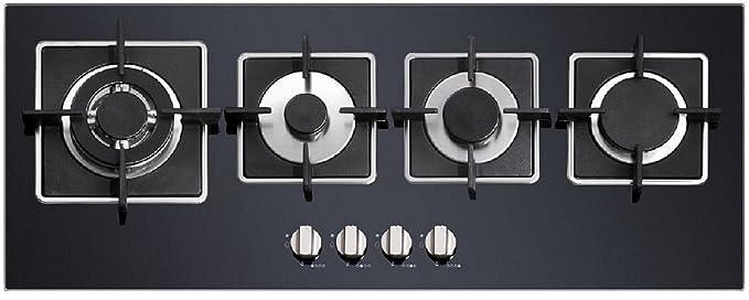 Moderno Super Slim design piano cottura a gas su vetro di neri ...