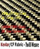 Kevlar Fabric - (YEL-Blk 5 ft x 1 Meter) 2x2 Twill