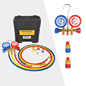 FAVORCOOL CT-536G 3-Way AC Diagnostic Manifold Gauge Set with Case for Freon Charging, fits R410A, R134A, R22 Refrigerants, Brass Body, Sight Glass