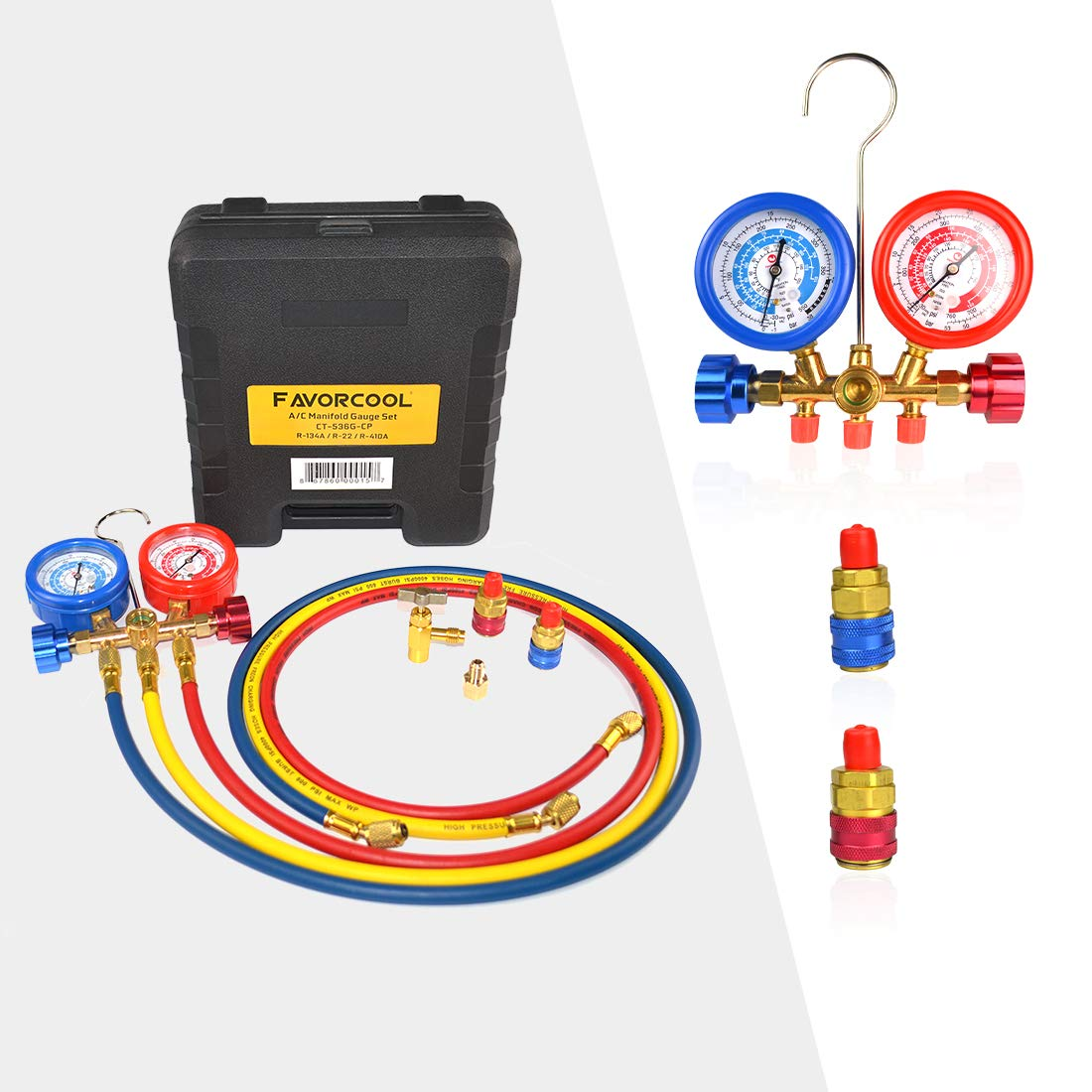 FAVORCOOL CT-536G 3-Way AC Diagnostic Manifold Gauge Set with Case for Freon Charging, fits R410A, R134A, R22 Refrigerants, Brass Body, Sight Glass & 1/2'' Acme Fittings, R134a Snap Couplers & Adapter
