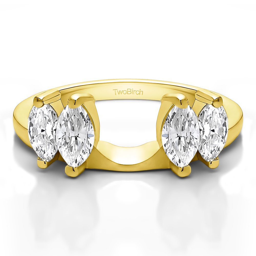 Solitaire Ring Wrap Enhancer set in Yellow Gold set with CZ(0.32Ct) Size 3 To 15 in 1/4 Size Interval