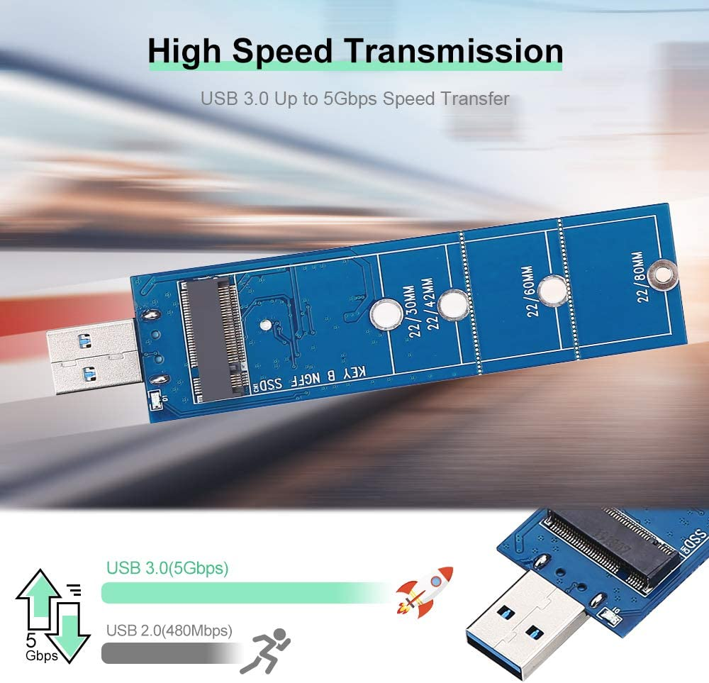 M.2 NGFF SSD to USB 3.0 Adapter M.2 B Key SATA SSD Converter as Portable External Hard Drive,Support 2230 2242 2260 2280 No Cable Needed