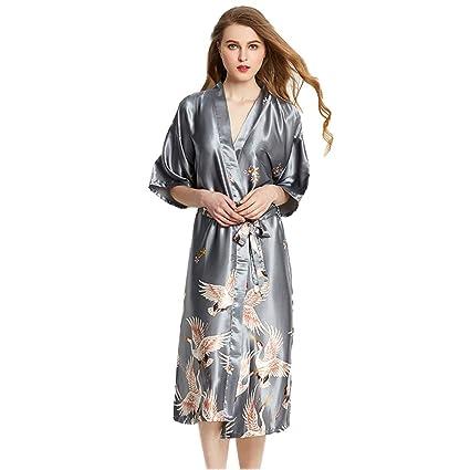0b497bce FOTEE Bata Mujer Batas de casa, Suave Satén camisón Kimono Vestido ...