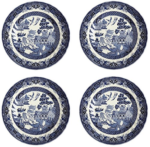 Imperial Salad / Dessert Plate, Made in England, 8-Inch (Set of 4) (English Blue Willow)