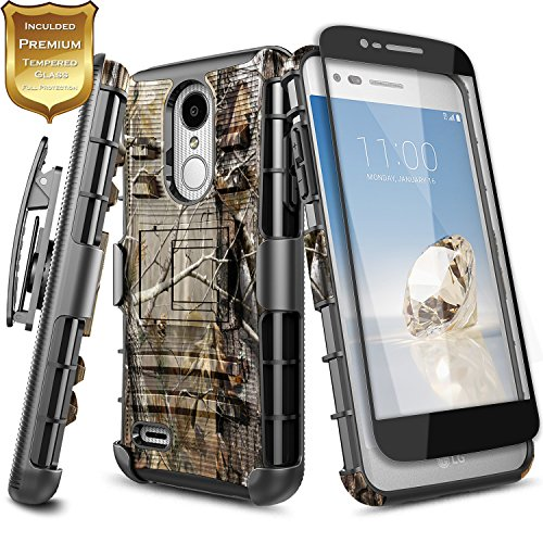 LG Tribute Dynasty Case(SP200), LG Aristo 2 Case(X210) with [Full Cover Tempered Glass Screen Protector], NageBee [Heavy Duty] Armor Shock Proof [Belt Clip] Holster [Kickstand] Combo Case (Camo)