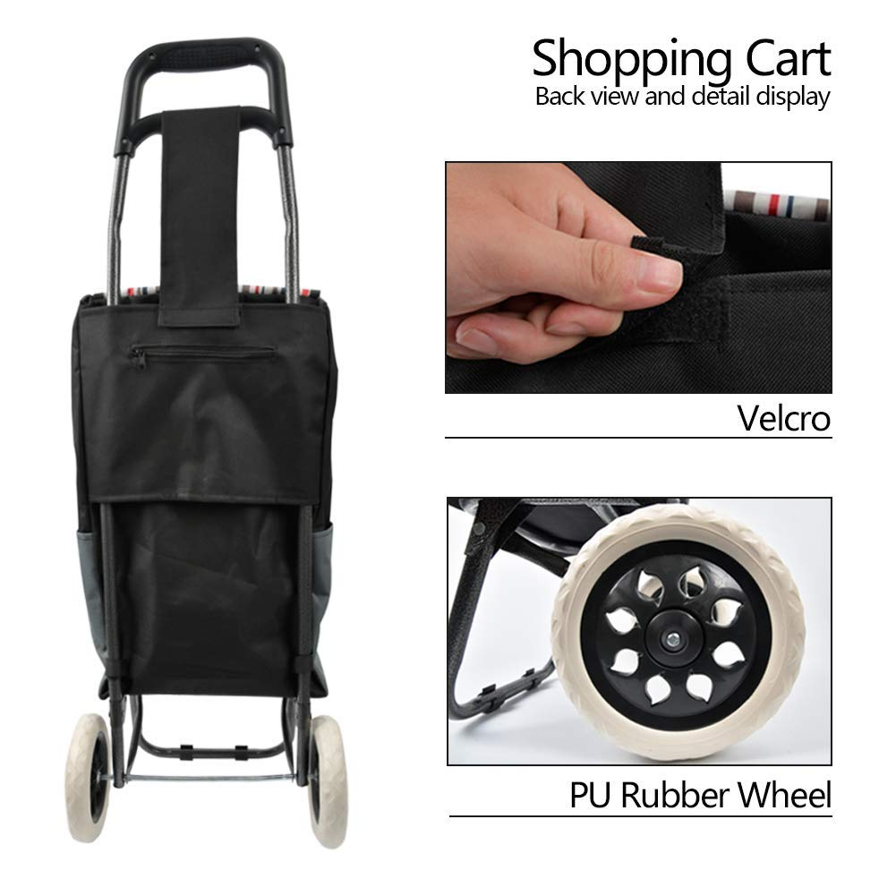 Black Folding Shopping Cart Trolley Dolly Grocery Laundry Utility Cart With Wheel Removable Waterproof Canvas Bag