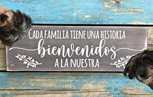 Home Decor Gift Wood Sign, Latino Wall Hanging. Spanish Saying Home Decorating. Mexican Country Home. Art for Hispanic House. Bienvenidos a la Nuestra (Grey with White Words)