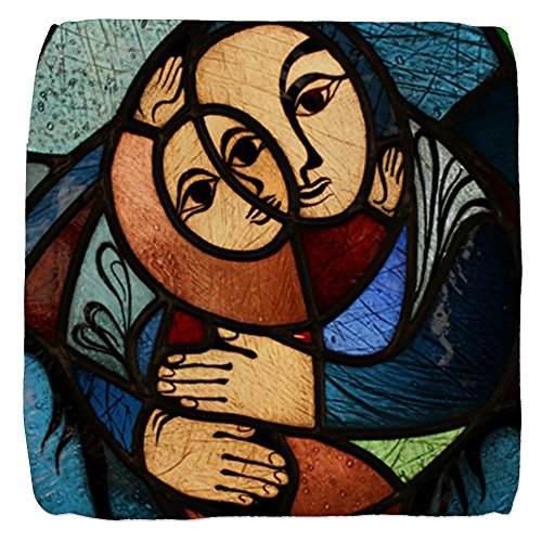 13 Inch 6-Sided Cube Ottoman Stained Glass Mother and Child