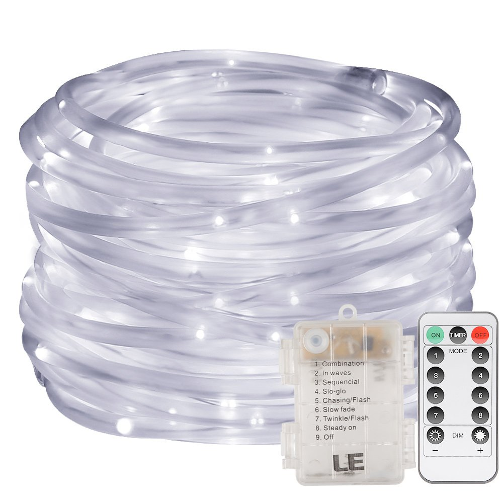 LE 33ft 120 LED Dimmable Rope Lights, Daylight White Patio Light, Battery Powered, IP44 Water Resistant, 8 Modes/Timer, Outdoor Decoration Light for Garden, Party, Christmas and More
