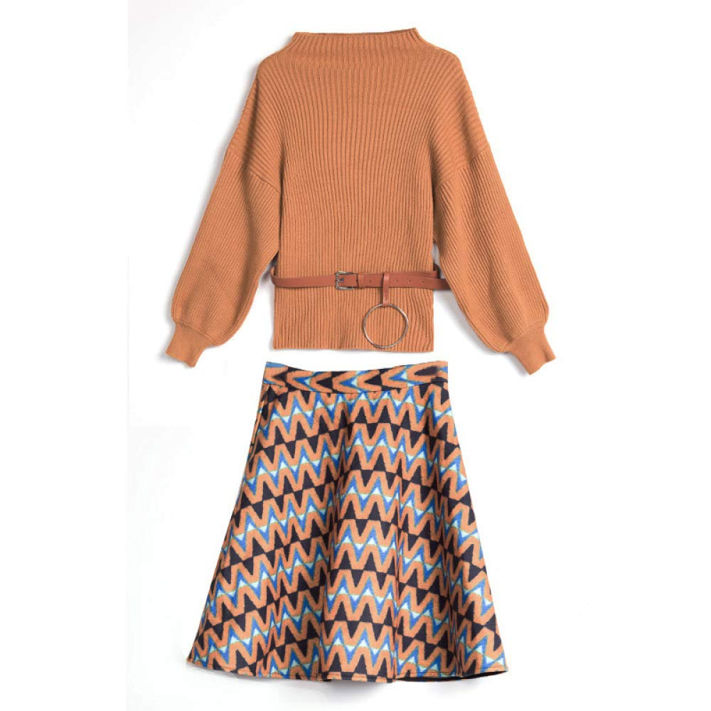 QJKai Dress Autumn and Winter Knitted Wool Sweater Skirt TwoPiece Suit