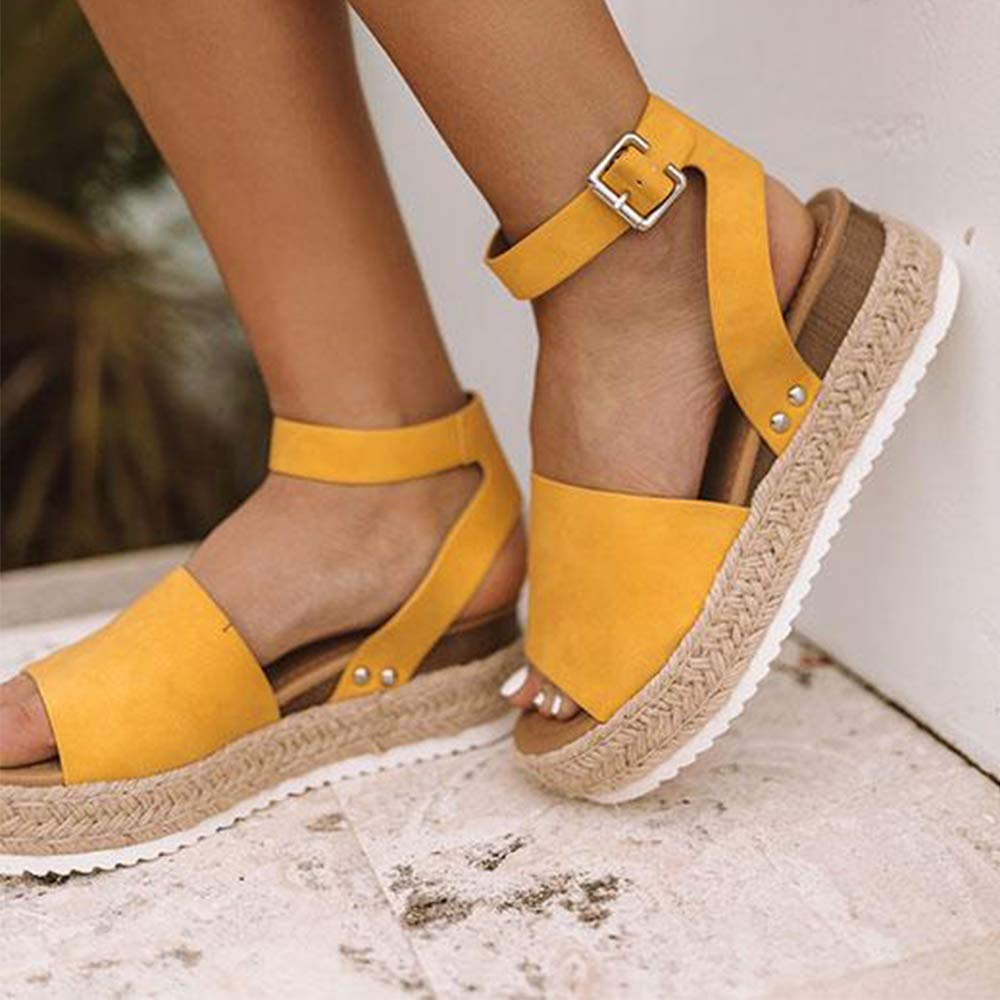 Athlefit Womens 2019 Platform Sandals Espadrille Wedge Ankle Strap Studded Summer Sandals Size 7.5 Yellow